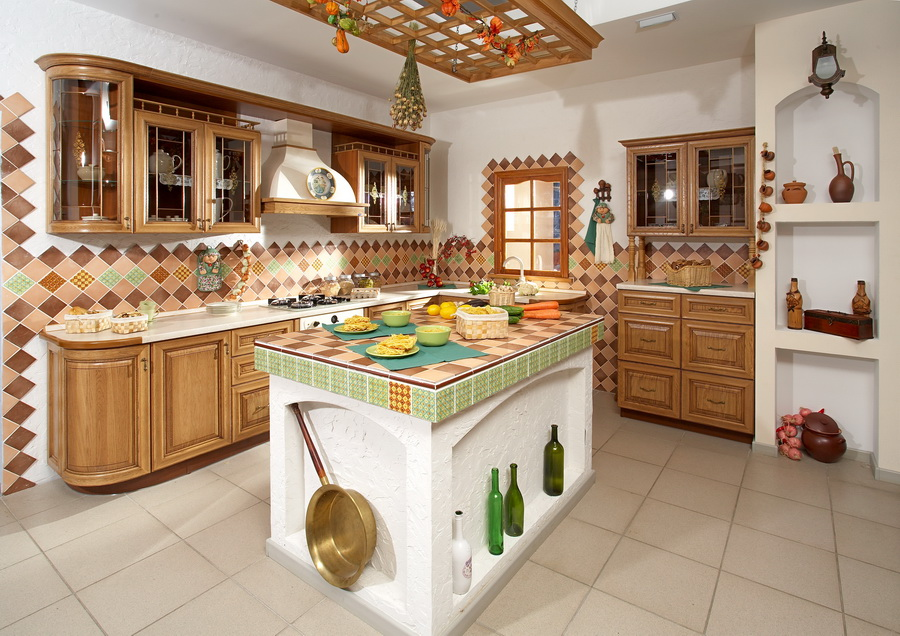 Кухни дизайн в русском стиле